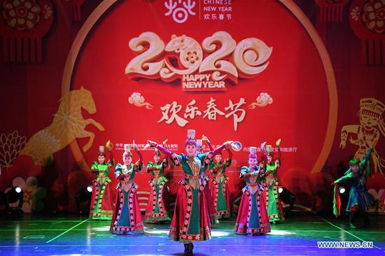 Actors from China's Inner Mongolia Autonomous Region perform at a celebration event greeting the upcoming Chinese Lunar New Year in Tlalnepantla, State of Mexico, Mexico, Jan. 17, 2020. (Xinhua/Xin Yuewei)