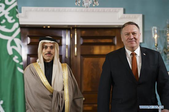 U.S. Secretary of State Mike Pompeo (R) meets with Saudi Foreign Minister Faisal bin Farhan Al Saud in Washington D.C., the United States, on Feb. 12, 2020. (Photo by Ting Shen/Xinhua)