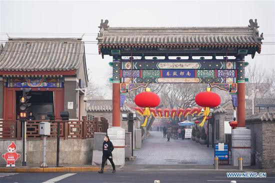 Photo taken on Feb. 12, 2020 shows a view of the South Luogu Lane, a popular tourist spot, in Beijing, capital of China. Work and production has resumed gradually in enterprises, communities and malls, etc. in Beijing since Feb. 10 with comprehensive measures taken to prevent and control the epidemic caused by the novel coronavirus. (Xinhua/Ju Huanzong)