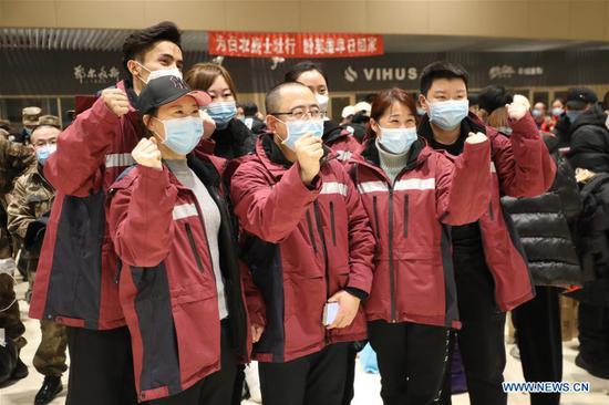 Members of a medical team pose for a group photo before their departure for Xiaogan of Hubei Province in Harbin, northeast China's Heilongjiang Province, Feb. 12, 2020. A team comprised of 316 medical workers from Heilongjiang left for Xiaogan of Hubei on Wednesday. It's the third medical team sent from Heilongjiang to aid the novel coronavirus control efforts in Hubei Province. (Xinhua/Qi Hongxin)