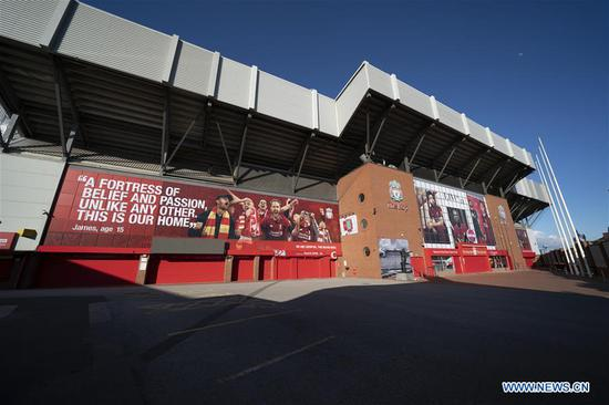 Photo taken on May 2, 2020 shows Liverpool Football Club's Anfield Stadium as sport events continue to be suspended during the COVID-19 pandemic in Liverpool, Britain. (Photo by Jon Super/Xinhua)