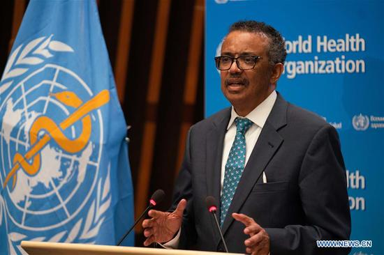 World Health Organization (WHO) Director-General Tedros Adhanom Ghebreyesus speaks at the 73rd World Health Assembly (WHA) at the WHO headquarters in Geneva, Switzerland, May 18, 2020. Due to the current COVID-19 pandemic, the 73rd session of the World Health Assembly, scheduled from May 18 to 19, was held virtually. (WHO/Handout via Xinhua)