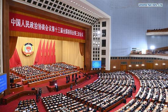 The second plenary meeting of the third session of the 13th National Committee of the Chinese People's Political Consultative Conference (CPPCC) is held at the Great Hall of the People in Beijing, capital of China, May 24, 2020. (Xinhua/Zhang Ling)