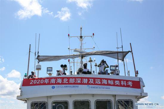 Researchers make observations during an expedition in the South China Sea, July 27, 2020. Chinese researchers have spotted 11 whale species in the South China Sea during a deep-sea scientific expedition, the Chinese Academy of Sciences said Tuesday. (Xinhua/Zhang Liyun)