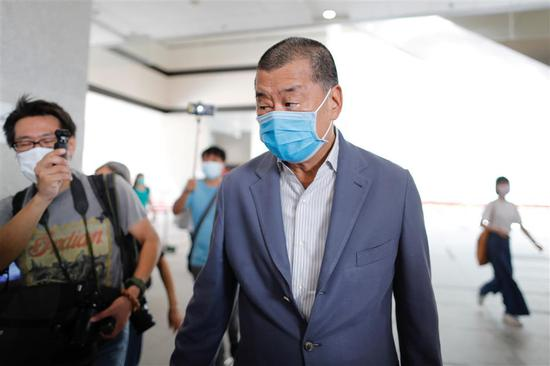 Jimmy Lai Chee-ying arrives at the West Kowloon Magistrates' Courts on August 20, 2020.