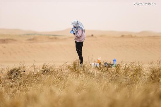 A desertification control worker drinks water during the break while making straw checkerboard barriers in the Tengger Desert along the construction site of the Qingtongxia-Zhongwei section of the Wuhai-Maqin highway in northwest China's Ningxia Hui Autonomous Region, Aug. 27, 2020. The Qingtongxia-Zhongwei section of the Wuhai-Maqin highway is under construction, of which an 18-kilometer-long section going through the Tengger Desert is the first desert highway in Ningxia. A desertification control team has worked along the highway construction site, using straw checkerboard barriers and planting vegetation to stop the dunes from moving or expanding. (Xinhua/Feng Kaihua)