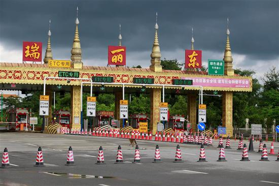 The expressway toll gates for entry into Ruili City in the southwest Yunnan Province are closed as the city authorities announced a lockdown following reports of imported cases.