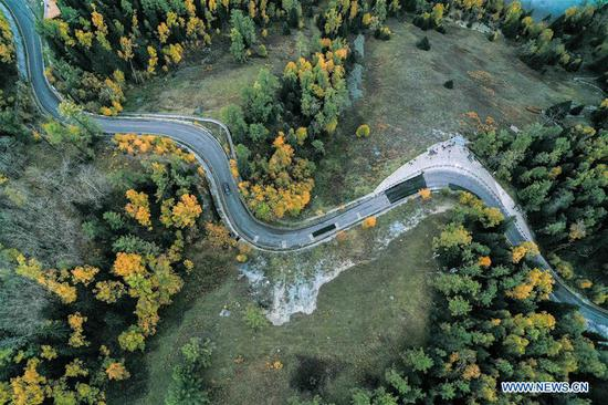 Aerial photo taken on Sept. 18, 2020 shows a winding road in Kanas scenic area, northwest China's Xinjiang Uygur Autonomous Region. Xinjiang has invested 397.3 billion yuan (around 58.3 billion U.S. dollars) between 2014 and 2019 in road construction, local authorities said. This was 1.53 times the total investment in road construction in Xinjiang between 1949 and 2013, said the regional transport department. (Xinhua/Ding Lei)