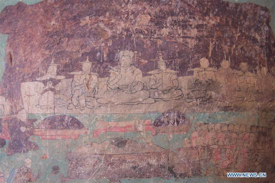 Photo taken on Oct. 8, 2020 shows fresco in Arjai Grottoes in Otog Banner of Ordos, north China's Inner Mongolia Autonomous Region. Cultural heritage workers started restoring the frescoes in the 1,600-year-old Arjai Grottoes in 2018. The site has 65 grottoes. Of the 41 grottoes that have remained intact, 14 feature frescoes. Ten grottoes featuring frescoes have been restored. (Xinhua/Li Zhipeng)