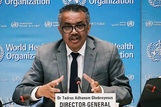 Photo taken in Brussels, Belgium on Aug. 6, 2020 shows World Health Organization (WHO) Director-General Tedros Adhanom Ghebreyesus attending an online press conference held in Geneva, Switzerland. (Xinhua/Zhang Cheng)
