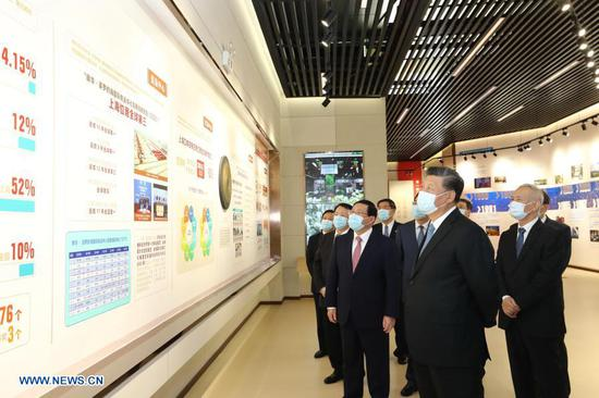 Chinese President Xi Jinping, also general secretary of the Communist Party of China Central Committee and chairman of the Central Military Commission, visits an exhibition of the 30th anniversary of the development and opening-up of Shanghai's Pudong in Shanghai, east China, Nov. 12, 2020. Xi attended a grand gathering that celebrates the 30th anniversary of the development and opening-up of Shanghai's Pudong and delivered an important speech at the event on Thursday. (Xinhua/Ju Peng)