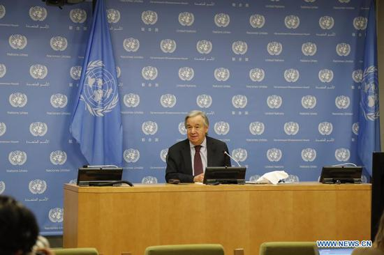 United Nations Secretary-General Antonio Guterres speaks at a press conference at the UN Headquarters in New York, Nov. 20, 2020. Antonio Guterres on Friday called on the leaders of the Group of 20 (G20) to act and cooperate to collectively cope with common threats and challenges before meeting with them online over the weekend. (Xinhua/Xie E)