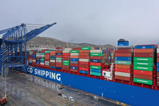 Aerial photo taken on Feb. 15, 2019 shows the COSCO Shipping Pisces, one of the world's largest container ships with a capacity of 20,000 TEU, docking at the Piraeus port in Greece. (Xinhua/Wu Lu)