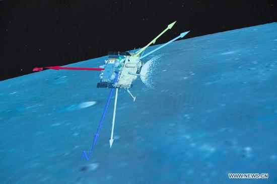 Photo taken at Beijing Aerospace Control Center (BACC) in Beijing on Dec. 1, 2020 shows the landing process of Chang'e-5 spacecraft. China's Chang'e-5 spacecraft successfully landed on the near side of the moon late Tuesday and sent back images, the China National Space Administration (CNSA) announced. At 11:11 p.m., the spacecraft landed at the preselected landing area near 51.8 degrees west longitude and 43.1 degrees north latitude, said the CNSA. During the landing process, the cameras aboard the lander took images of the landing area, said the CNSA. (Xinhua/Jin Liwang)