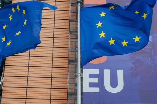 Flags of the EU fly in front of the headquarters of the European Commission in Brussels, Belgium, June 29, 2020. (Xinhua/Zhang Cheng)