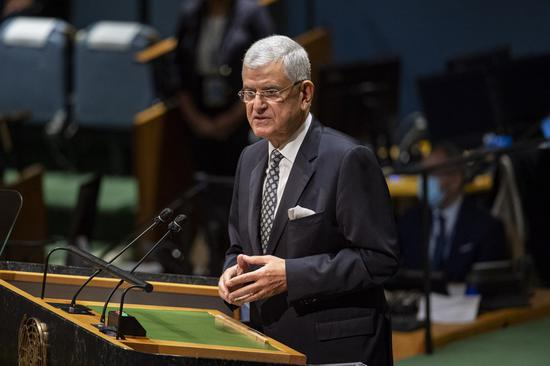 United Nations General Assembly President Volkan Bozkir addresses a high-level UN meeting to mark the International Day for the Total Elimination of Nuclear Weapons at the UN headquarters in New York, on Oct. 2, 2020. (Rick Bajornas/UN Photo/Handout via Xinhua)