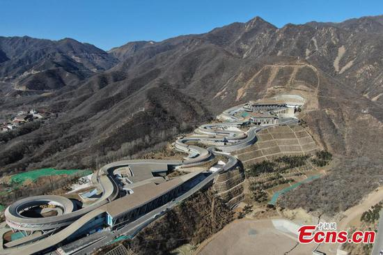 An aerial view of the National Alpine Skiing Center in Yanqing, Beijing, Dec. 29, 2020. (Photo: China News Service/Jiang Qiming)