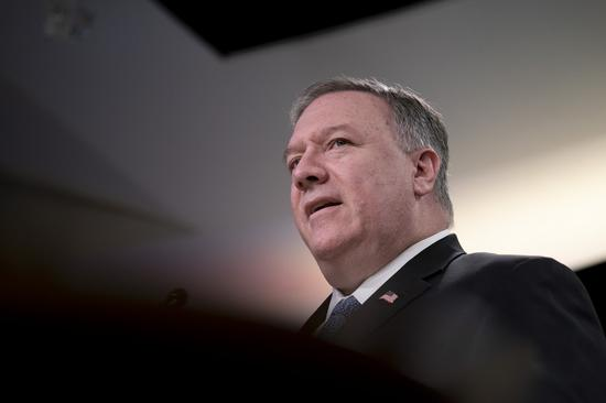 U.S. Secretary of State Mike Pompeo speaks during a press briefing in Washington D.C., the United States, on March 5, 2020. (Xinhua/Liu Jie)