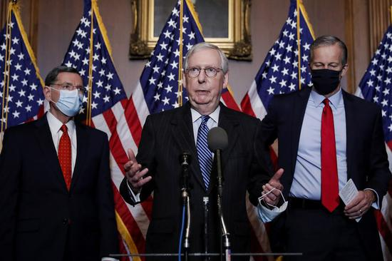 U.S. Senate Majority Leader Mitch McConnell (C) speaks at a press conference on Capitol Hill in Washington, D.C., the United States, on Dec. 15, 2020. (Tom Brenner/Pool via Xinhua)
