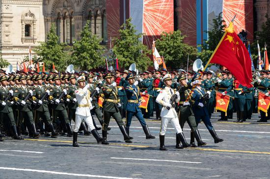 The Guard of Honor of the Chinese People's Liberation Army (PLA) take part in the military parade marking the 75th anniversary of the victory in the Great Patriotic War on Red Square in Moscow, Russia, June 24, 2020. (Xinhua/Bai Xueqi)