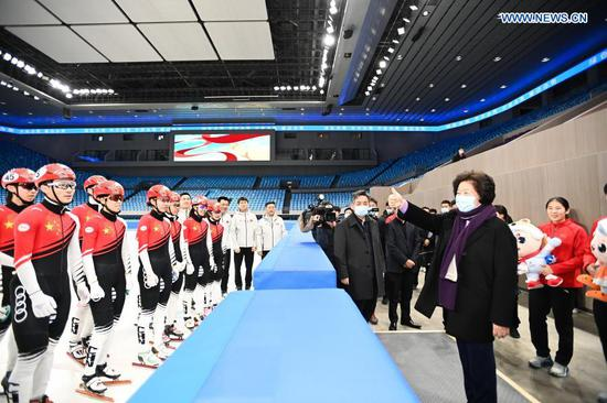 Chinese Vice Premier Sun Chunlan has encouraged the country's winter sports athletes to work harder to achieve good results at the Beijing 2022 Olympic Winter Games.