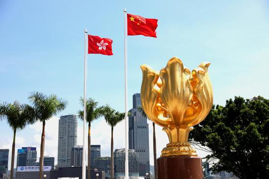 Photo taken on July 14, 2020 shows the Golden Bauhinia Square in China's Hong Kong. (Xinhua/Wu Xiaochu)