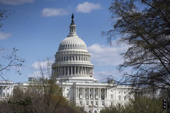Photo taken on April 2, 2021 shows the U.S. Capitol building in Washington, D.C., the United States. (Xinhua/Liu Jie)