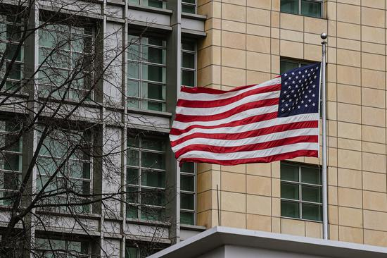 The U.S. flag waves in the wind at the U.S. Embassy in Moscow, Russia, on April 16, 2021. (Xinhua/Evgeny Sinitsyn)