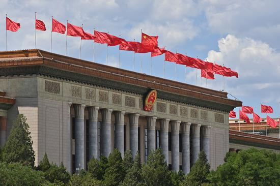 Photo taken on May 27, 2020 shows a view of the Great Hall of the People in Beijing, capital of China. (Xinhua/Li Xin)