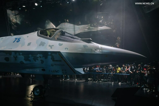 """A prototype of the fifth-generation fighter jet """"Checkmate"""" is on display in a Moscow suburb, Russia, on July 20, 2021. Russia displayed a prototype of its fifth-generation lightweight single-engine fighter jet """"Checkmate"""" at the International Aviation and Space Salon (MAKS)-2021 that kicked off here on Tuesday. (Xinhua/Evgeny Sinitsyn)"""