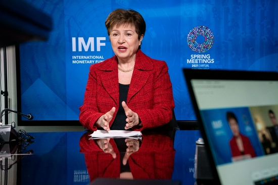 Kristalina Georgieva, managing director of the International Monetary Fund (IMF), receives an interview with Xinhua during the IMF Spring Meetings in Washington D.C., the United States, April 13, 2021. (Kim Haughton/IMF/Handout via Xinhua)