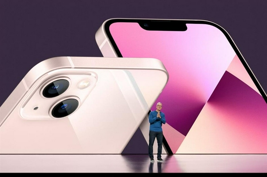 This handout image shows Apple CEO Tim Cook unveiling the new iPhone 13 during a special event at Apple Park.
