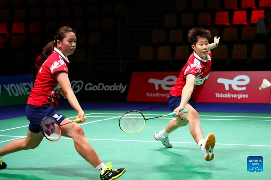 China's Liu Xuanxuan (R) /Xia Yuting compete in the women's doubles match against Malaysia's Lee Meng Yean/Muralitharan Thinaah during the group D match between China and Malaysia at Uber Cup badminton tournament in Aarhus, Denmark, Oct. 10, 2021. (Xinhua/Zhang Cheng)