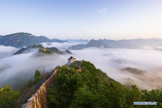 Photo taken on May 13, 2018 shows sea of clouds after rainfall at Huangyaguan section of the Great Wall in Tianjin, north China.(Xinhua/Yang Yushan)