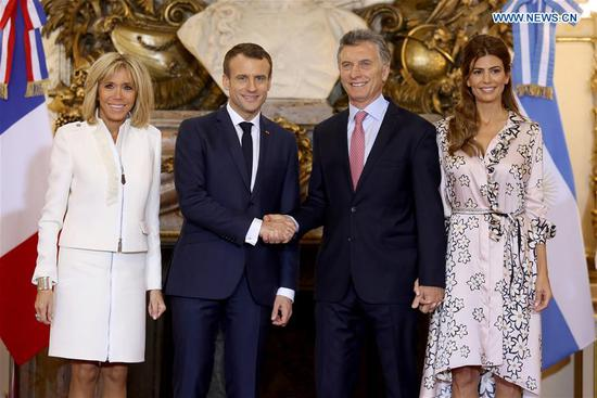 Argentine President Mauricio Macri (2nd R) meets with French President Emmanuel Macron (2nd L) in Buenos Aires, Argentina, Nov. 29, 2018. (Xinhua/Martin Zabala)