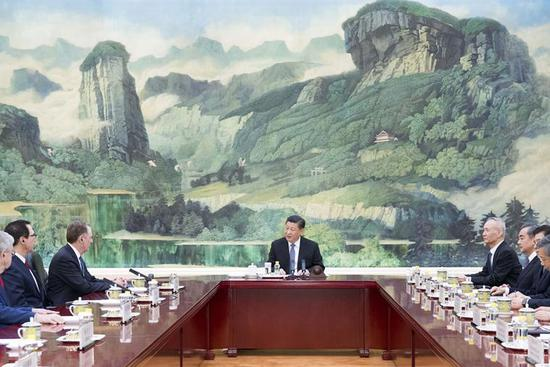"Chinese president meets U.S. trade representative, treasury secretary, hailing ""important progress"""