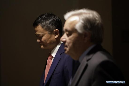 Jack Ma (L) of China's Alibaba Group and United Nations Secretary-General Antonio Guterres arrive to attend a high-level panel on digital cooperation at the UN Headquarters in New York, June 10, 2019. Jack Ma of China's Alibaba Group joined United Nations Secretary-General Antonio Guterres and Melinda Gates of the Gates Foundation in a live conversation here on Monday to discuss global digital cooperation for a safer and more sustainable future of the digital industry. (Xinhua/Li Muzi)