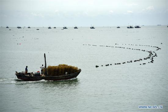 Photo taken on Sept. 1, 2019 shows boats setting sail for fishing in Rizhao, east China's Shandong Province. The annual summer fishing ban, which was enforced on May 1 in the Yellow Sea and Bohai Sea, took an end on Sunday. (Xinhua/Wang Kai)