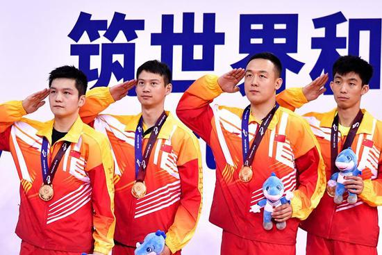 China win men's team competition of table tennis gold at Military World Games