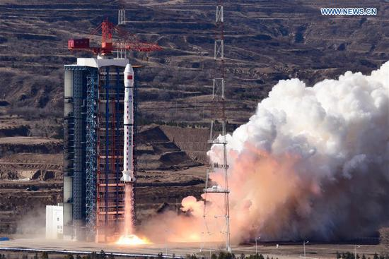 A new Earth observation satellite, Gaofen-7, is launched on a Long March-4B rocket from the Taiyuan Satellite Launch Center in north China's Shanxi Province, Nov. 3, 2019. The Gaofen-7, China's first civil-use optical transmission three-dimensional surveying and mapping satellite that reaches the sub-meter level, will play an important role in land surveying and mapping, urban and rural construction and statistical investigation, according to the China National Space Administration (CNSA). (Photo by Sun Gongming/Xinhua)