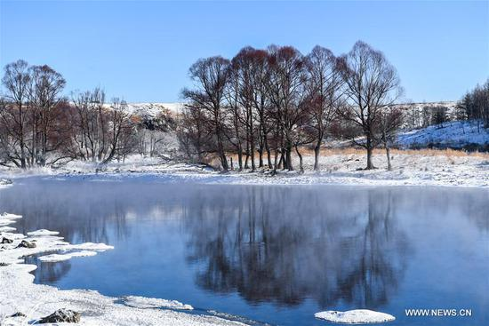 Photo taken on Nov. 20, 2019 shows an unfrozen section of the Halha River in the city of Arxan of Hinggan League, north China's Inner Mongolia Autonomous Region. Despite Arxan's frigid winter cold, this geothermally-affected, 20-kilometer section of the Halha River never freezes even when the temperature drops to as low as minus 40 degrees Celsius. (Xinhua/Peng Yuan)