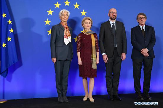 European Parliament President David Sassoli, European Council President Charles Michel, European Commission President Ursula von der Leyen and European Central Bank President Christine Lagarde (R-L) attend a ceremony to mark the 10th anniversary of the entry into force of the Lisbon Treaty, at the House of European History in Brussels, Belgium, Dec. 1, 2019. (Xinhua/Zhang Cheng)