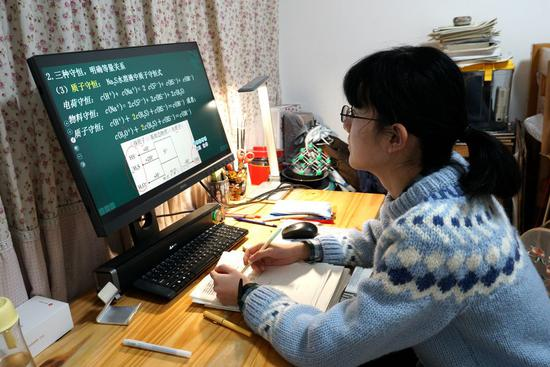 A student takes an online class at home in Handan, north China's Hebei Province, Feb. 10, 2020. (Xinhua)
