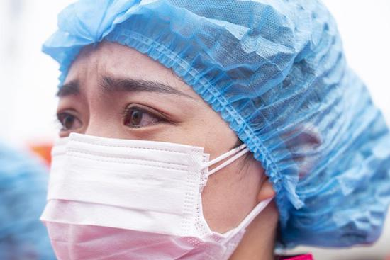 Medical workers attend departure ceremony at Leishenshan Hospital in Wuhan