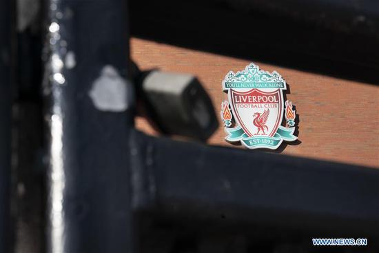 Liverpool Football Club's Anfield Stadium is locked and empty as sport events continue to be suspended during the COVID-19 pandemic in Liverpool, Britain, May 2, 2020. (Photo by Jon Super/Xinhua)