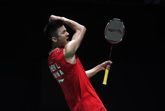 Chen Long of China celebrates after winning his men's singles third round tie against Ng Ka Long at the BWF Badminton World Championships 2019 in Basel, Switzerland, Aug. 22, 2019. (Xinhua/Li Jundong)