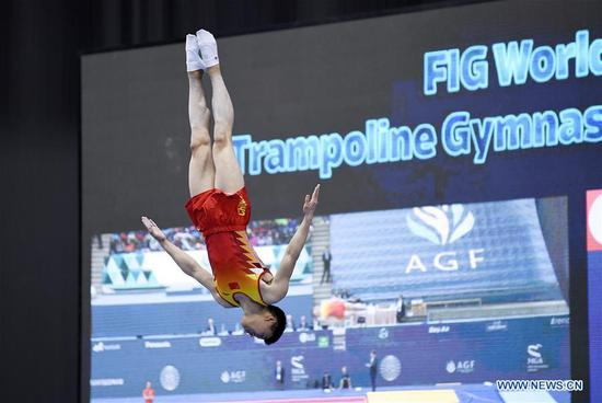 China's Gao Lei competes during the men's final of Trampoline Gymnastics at the 2020 FIG World Cup in Trampoline Gymnastics and Tumbling in Baku, Azerbaijan, Feb. 16, 2020. Gao Lei won the gold. (Photo by Tofik Babayev/Xinhua)