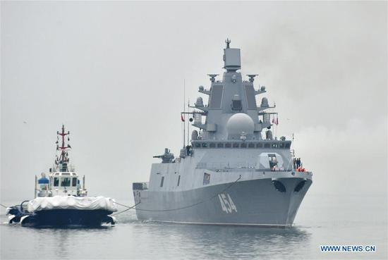 Russian navy's guided missile frigate Admiral Gorshkov arrives in the port city of Qingdao, east China's Shandong Province, April, 21, 2019, to join multinational naval events commemorating the 70th anniversary of the founding of the Chinese People's Liberation Army (PLA) Navy. The events will be held between April 22 and 25 and a naval parade will be held in Qingdao and nearby sea areas and airspace on April 23. (Xinhua/Zhu Zheng)
