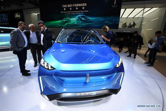 A Wey-S concept car is on display during the first press day of Germany's International Motor Show (IAA) 2019 in Frankfurt, Germany, on Sept. 10, 2019. First launched in 1897, the IAA is a leading motor show in the world. The IAA 2019 will last until Sept. 22, with the exhibition open to the general public from Sept. 14. (Xinhua/Lu Yang)