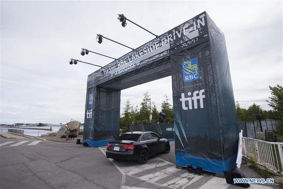 A drive-in location is seen during the 2020 Toronto International Film Festival (TIFF) in Toronto, Canada, on Sept. 10, 2020. Featuring 50 new feature films, five programs of short films, as well as interactive talks, the ten-day annual event kicked off on Thursday with drive-in locations and online screenings. (Photo by Zou Zheng/Xinhua)